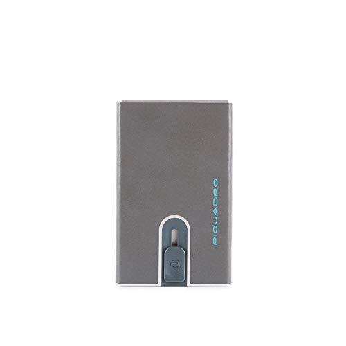 Piquadro PP4891B2R-Gris 6 - Soporte para tarjetas de crédito, diseño cuadrado, color azul