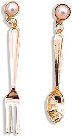 Funny Spoon Fork Asymmetry Dangle Earrings Polishing Gold Plated Cute Drop Earrings for Women Girls