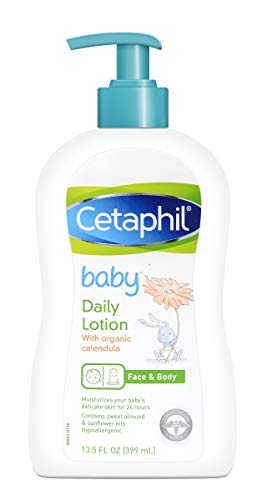 Cetaphil Baby Daily Lotion with Organic Calendula, Sweet Almond Oil and Sunflower Oil, 13.5...