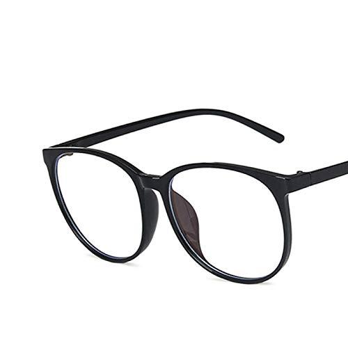 NJJX Gafas Transparentes Para Ordenador, Montura Para Mujeres, Hombres, Anti Luz Azul, Gafas Redondas, Gafas De Bloqueo, Montura De Gran Tamaño, Anteojos Para Oficina, Negro