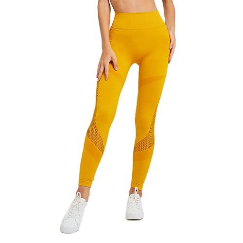 QTJY Pantalones de Yoga de Cintura Alta para Mujer sin Costuras Push-ups Levantamiento de Abdomen Caderas Leggings Deportivos para Gimnasio Pantalones para Correr al Aire Libre C M
