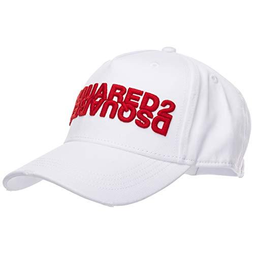 DSQUARED2 Gorra Mirrored Logo, Blanco, Talla Única