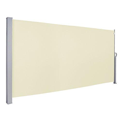 wolketon 180x300 cm Seitenmarkise, Beige Markise mit TÜV Geprüft Ausziehbarer Sichtschutz UV-beständig für Terrasse,Balkon,Garten Spielplätzen Sichtschutz