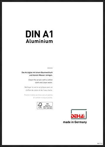 DEHA Aluminium Bilderrahmen Boston, 59,4x84,1 cm (A1), Eloxal Schwarz Matt