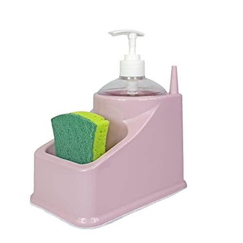 Estropajero, dispensador jabón Cocina, Porta estropajos y esponjas, Dispensador de Jabón 2 en 1 y Soporte de Esponja Dosificador Jabón Cocina. (Rosa)