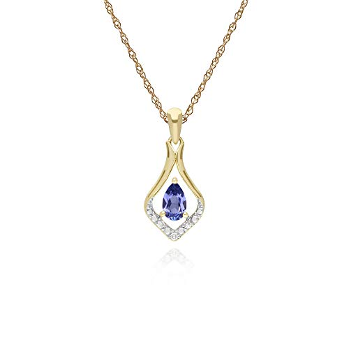 Gemondo Tanzanite Necklace, 9ct Yellow Gold Round Tanzanite & Diamond Classic Leaf Pendant on 45cm Chain