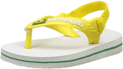 Havaianas Unisex Baby Brasil Logo II Zehentrenner, Weiß (White/Citrus Yellow), 25/26 EU