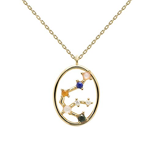 P D Paola Ladies Necklace Star Sign Aquarius Gold Plated Silver CO01-342-U