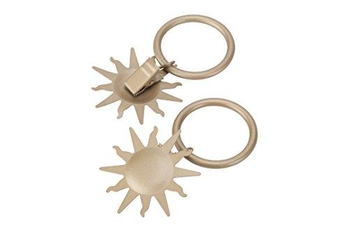 Gardinenring/Ring mit Dekoklammer Sonne, matt Gold, Set 10 Stück
