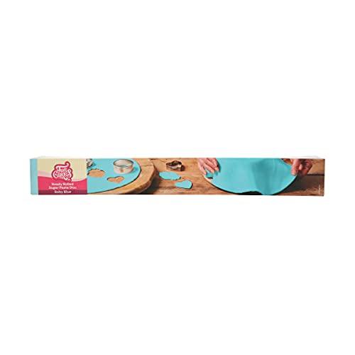 FunCakes Disco Pasta di Zucchero Stesa Baby Blue: delizioso sapore di vaniglia, già arrotolato, Halal, Kosher e Senza Glutine. 36 cm tondo e 3 mm di spessore. 430 gr.