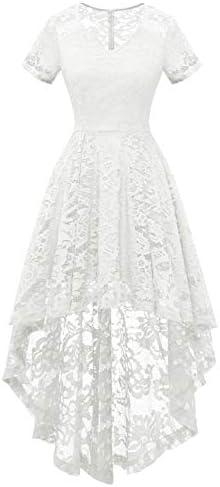 MUADRESS 6066 Women s Vintage Cocktail Dress Floral Lace V Neck Hi Lo Party Dress White X Large product image