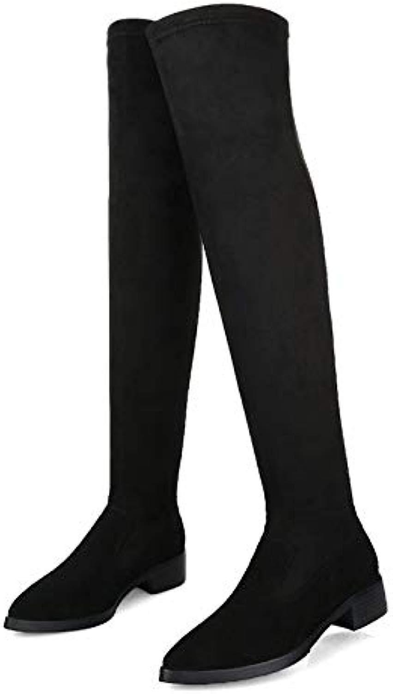 ACWTCHY Overknee-Stiefel Echtes Leder Stretchmaterial Spitz Dicker Absatz Damen Stiefel 9 Nubukleder