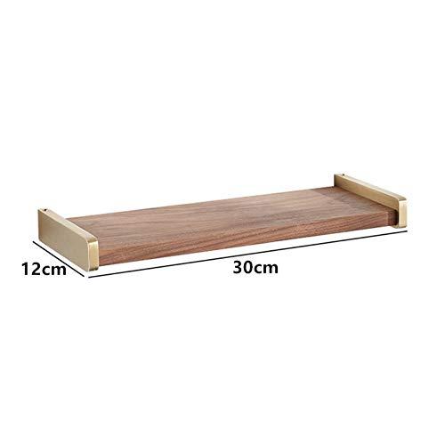 Badkamer Shelfbathroom plank bad douche rack messing & hout hoek plank rechthoek bad houder muur gemonteerd Blot Instering Type 30 cm.