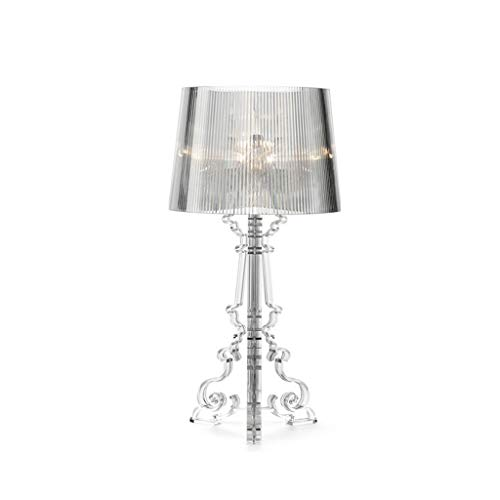 Plexiglas Tischleuchten for Wohnzimmer Neben Licht Home Desk Lamp Alle Acrylkörper Lampenschirm-Schlafzimmer-Lampe E27 / E14 (Color : Clear, Size : S)