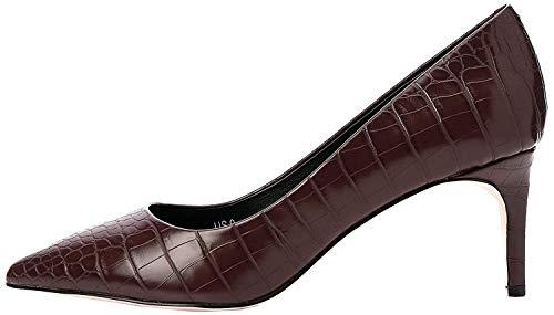 find. Point Toe Mid Heel Court Zapatos de Tacón, Marrón Brown Croc, 36 EU