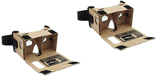 Paquete de 2 auriculares de realidad virtual 3D de cartón Virtual Real Google con imán y correa para la cabeza elástica de, compatible con teléfonos inteligentes, Android, iPhone (paquete de 2)