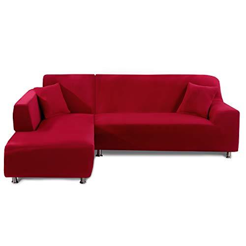 Feilaxleer Funda Sofa Chaise Longue Elástica Brazo Izquierdo/Derecho,Funda para Sofá en Forma de L (4 Plazas +3 Plazas,Rojo)
