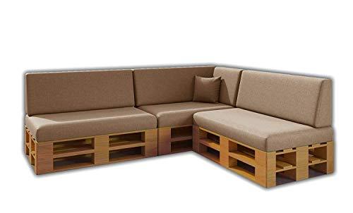 Pack Ahorro Conjunto 8 Cojines para Sofa de palets / europalet 3 Asientos + 3 Respaldos + Rinconera + Cojin | Desenfundable | Interior y Exterior | Color Hamster | Espuma de Alta Densidad.