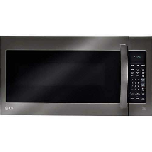 LG 2-cu ft Over-the-Range Microwave with Sensor Cooking (Fingerprint-Resistant Black Stainless Steel) (Renewed)