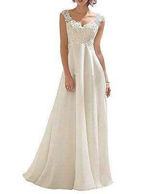 Abaowedding Women's Wedding Dress Lace Double V-Neck Sleeveless Evening Dress Ivory US 2