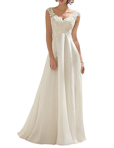 Abaowedding Women's Wedding Dress Lace Double V-Neck Sleeveless Evening Dress Ivory US 14 (Apparel)
