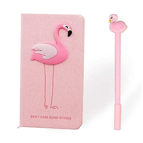 chengbaohuqu Cuaderno del Tema De Flamingo con Dos Flamencos Pen Rosa Libro Llano Libro Portátil Planificador Estudiante Estudiante Oficina Regalo