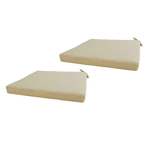 Edenjardi Lot de 2 Coussins de siège pour extérieur Couleur crème  Dimensions: 44x44x5 cm   Imperméable   Déhoussable   Livraison Gratuite