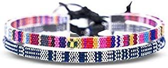 2 Pieces Braided Anklet Bracelets Adjustable Bracelets Colorful Woven Anklets Boho Surfer Anklet Handmade Bohemia Anklet Chain Beach Anklet Friendship Woven Bracelets for Women Girls