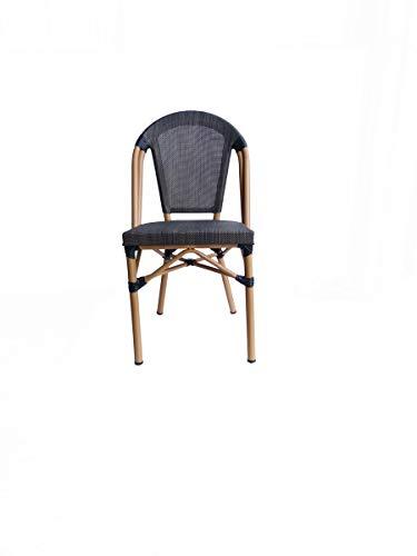 LaNatura SIT&Chairs Stuhl 2er-Set Aluminium Beige Dunkelbraun