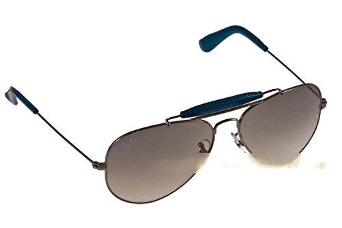 Ray-Ban Aviator Large Metal - Gafas de sol para hombre Argento/Blu In Pelle, Lenti Grigio Sfumato 58 mm