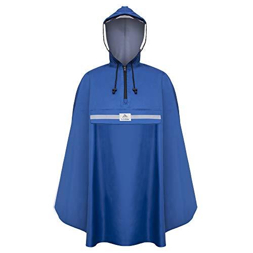 Rainrider Regenponcho (Royal Blue), Regenponcho blau für's Fahrrad, Regenbekleidung mit Kapuze inkl. Sichtfenster, Regencape Fahrrad inkl. Reflexionsstreifen - Regenmantel Männer und Frauen