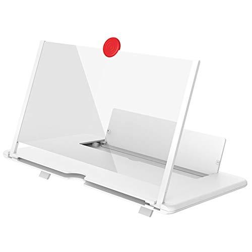 Zeerkeer Lupa para teléfono 3D de 12 '', Lupa Curva para teléfonos móviles, Amplificador de Pantalla HD, Lupa Plegable para películas, Videos, Juegos (Blanco)