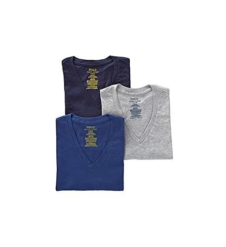 Polo Ralph Lauren Mens Classic Fit w/Wicking 3-Pack V-Necks Andover Heather/Bali Blue/Cruise Navy LG One Size