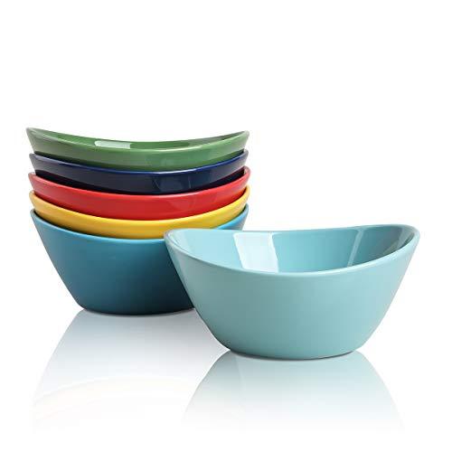 Selamica Porcelain 18oz Bowls Set - Set of 6, ceramic bowls for Pasta, Salad, Cereal, Assorted Colors