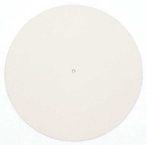 Echtleder Plattenmatte als Plattentellerauflage, creme, glatt, Turntable Slipmat, von FREIRAUM®-Trend