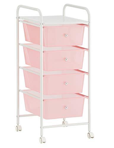 HERSIG - Mueble Cajonera Plastico | Cajonera con Ruedas 4 Alturas - Color Rosa