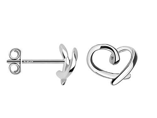 SOFIA MILANI - Damen Ohrringe 925 Silber - Ohrstecker als Herz Schlicht - 20641