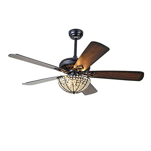 Ventiladores de techo retro con hojas de cristal y hojas de madera de fan, Tres marchas de atenuación, con control remoto 52'52W ventiladores de techo vintage para dormitorio de cocina interior/com