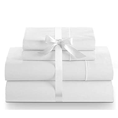 Linenwalas 100% Cotton Bed Sheet – 800 Thread Count Deep Pocket 4 Piece Sheets Silk Like Soft,Hypoallergenic,Breathable & Cooling   Hotel Luxury Bedsheet Clearance Deal (Queen,White)