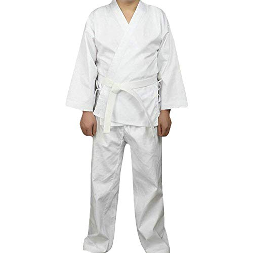 G-like Karate Judo Anzug Kleidung - Kampfkunst Judogi Aikido Keikogi Jiu Jitsu Taekwondo Bando Kung Fu Outfit Training Uniform Kostüm Set Jacke Hose Freier Gürtel für Männer Frauen Kinder (160 cm)