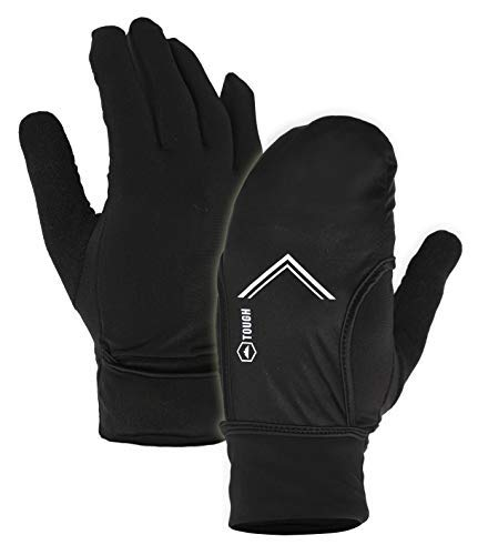 Touch Screen Gloves for Men & Women - Windproof & Thermal Winter Glove Liners for Running,Texting, Cycling & Driving - Touchscreen Smartphone Compatible - Warm Gloves with Convertible Mitten Cover