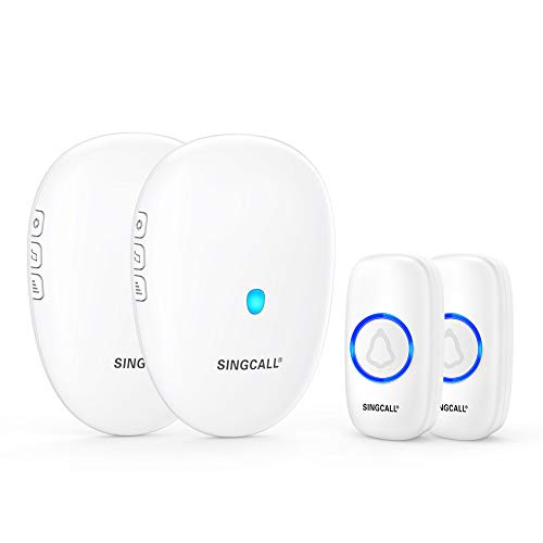 SINGCALL Wireless Door Bell, Waterproof Wireless Doorbell Operating at 500 Feet, 2 Remote Buttons Can Have Different Tones, 57 Melodies, CD Quality Sound and LED Flash, 2 Push Buttons 2 Receivers