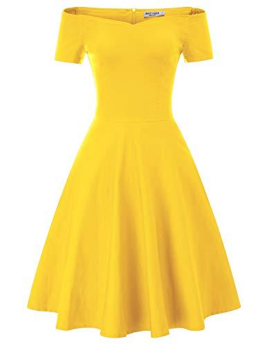 Rockabilly Kleider Damen Weihnachten cocktailkleider gelb a Linie Kleider CL020-6 2XL