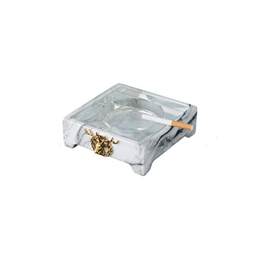 XDYNJYNL Creativity Cenicero cómodo y fácil de limpiar Cenicero con diseño de ciervo Material de vidrio de mármol Ceniza anti-mosca Adecuado para decoraciones del hogar Almacenamiento Escritorio Dormi