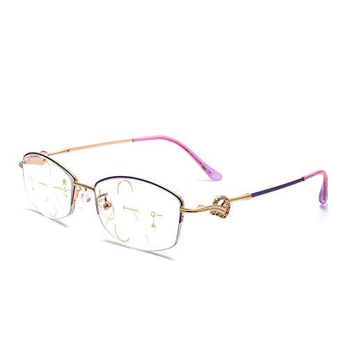 CAOXN Gafas Lectura Multifocales Progresivas Negocios para Hombres, Gafas Rectangulares Anti-Luz Azul para Visión Cercana Y Lejana +1.0 A +3.0,D,+2.00