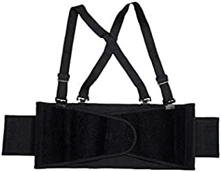 Cordova Safety Products Adjustable Back Support Belt with Attached Suspenders, 3X-Large, Black