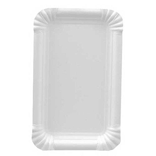 Gastro-Bedarf-Gutheil 250 Teller Pappe eckig 10 cm x 16 cm weiss Pappteller