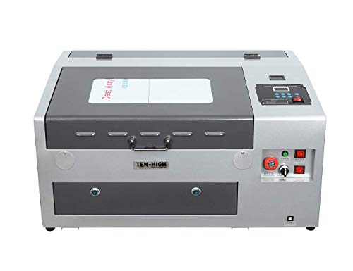 TEN-HIGH CO2 Láser Máquina de Grabado y Cortador, 40W 300x400mm, Máquina DIY, Puerto USB, Color Gris