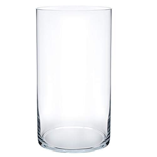 """Royal Imports Flower Glass Vase Decorative Centerpiece for Home or Wedding Cylinder Shape, 10"""" Tall, 5"""" Opening, Clear"""