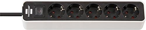 Brennenstuhl Ecolor regleta enchufes con 5 tomas corriente (cable de 1.5 m, con interruptor) color blanco/negro